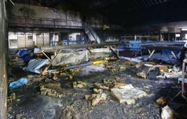 Patamans Halle nach dem Brand gestern, Quelle: Facebook Gerrit Hotzel